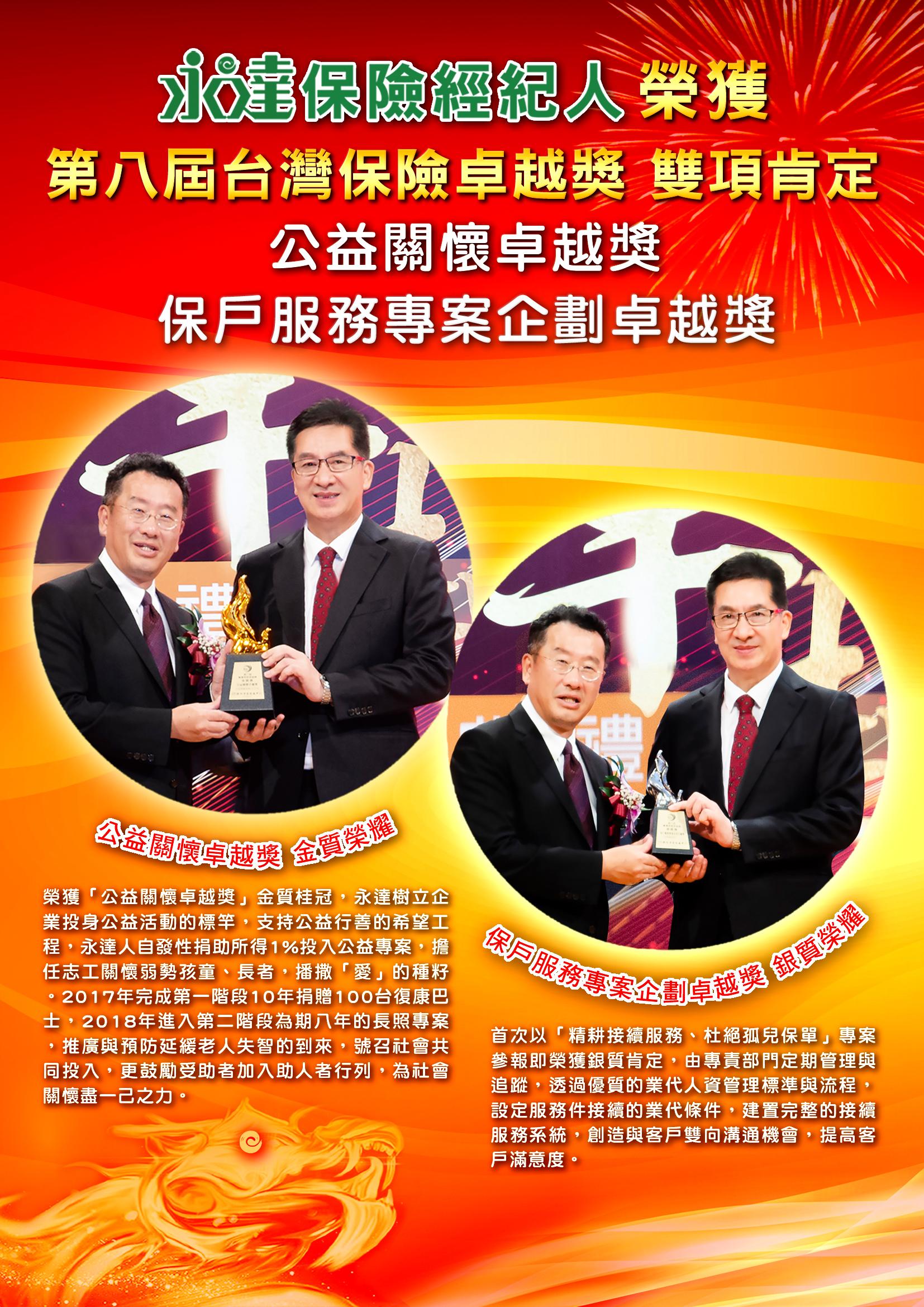 第八屆台灣保險卓越獎喜訊